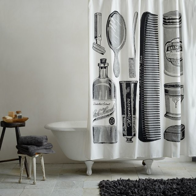 apothecary shower curtain contemporary shower curtains. Black Bedroom Furniture Sets. Home Design Ideas