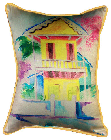 Betsy Drake West Palm Hut Pillow - Beach Style - Outdoor Cushions And Pillows - by Coastal Style ...