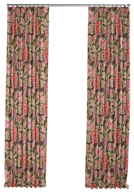 ... Pink and Green Floral Pleated Curtain, Single Panel tropical-curtains