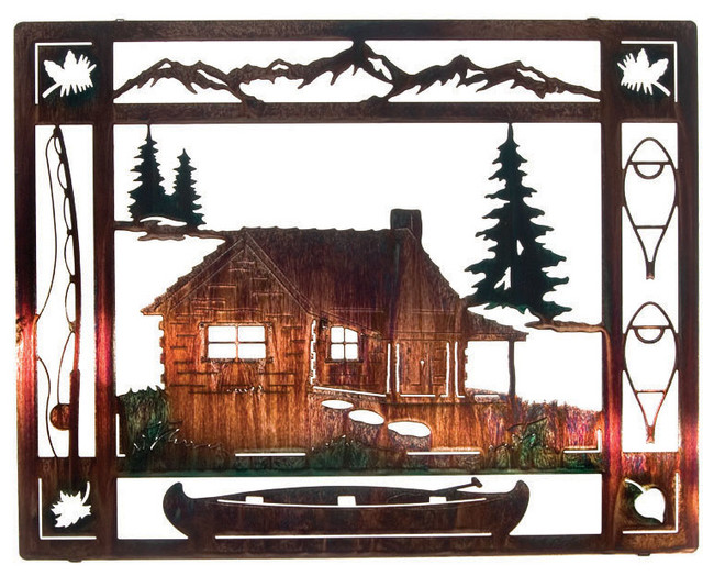 Outdoor Cabin Wall Decor : At the cabin rustic metal wall art quot artwork