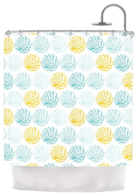 Anchobee Coralina Teal Yellow Shower Curtain