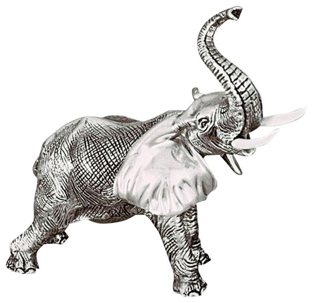 Silver Elephant Sculpture With Trunk Up A54 Contemporary Sculptures By Wildlife Wonders: silver elephant home decor