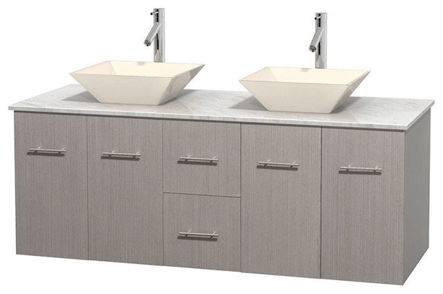 60 Double Bathroom Vanity White Carrera Marble Countertop Sinks Con