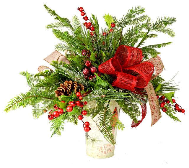 Christmas Berry Arrangement In Pot Traditional