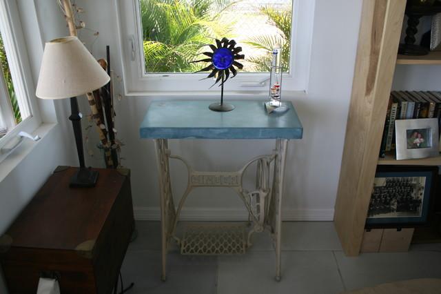 Concrete table. Antique sewing machine base. - tampa - by GreenStone Concrete Designs