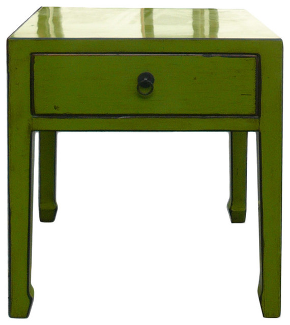 Square lime green side table with drawer asian for Japanese bedside table