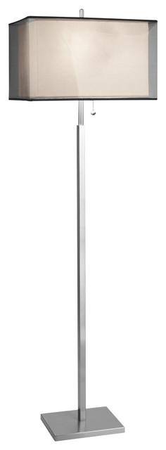 modern rectangular black organza shade floor lamp modern. Black Bedroom Furniture Sets. Home Design Ideas