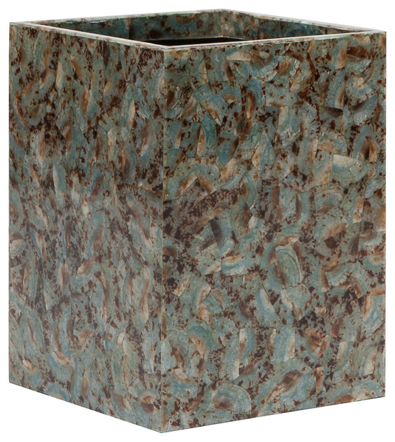 Pigeon poodle sitges blue shell square wastebasket modern wastebaskets by zinc door - Modern wastebasket ...