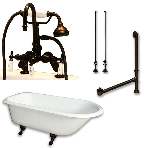 Cast Iron Rolled Rim Clawfoot Tub 61 Telephone Oil Rubbed Bronze Packa