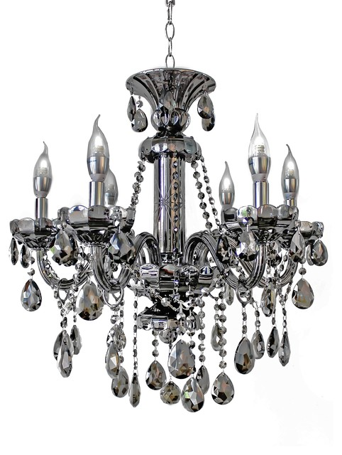 6 Light Smoked Mirrored Silver Crystal Chandelier Light