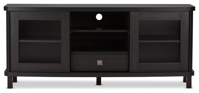 "Walda Dark Brown Wood TV Cabinet With 2 Sliding Doors and 1 Drawer, 60"" - Contemporary ..."