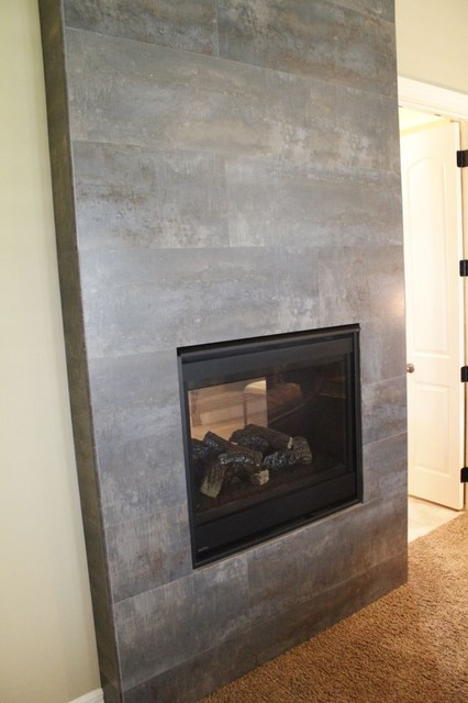 Tile Fireplace Modern Indoor Fireplaces Kansas City