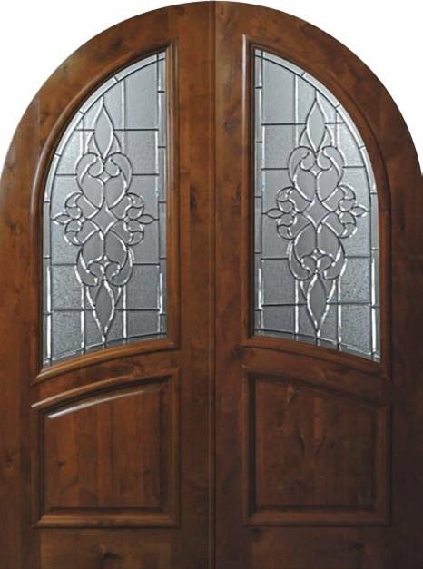 Pre Hung External Double Door 96 Alder Courtlandt Round Top Glass Mediterra