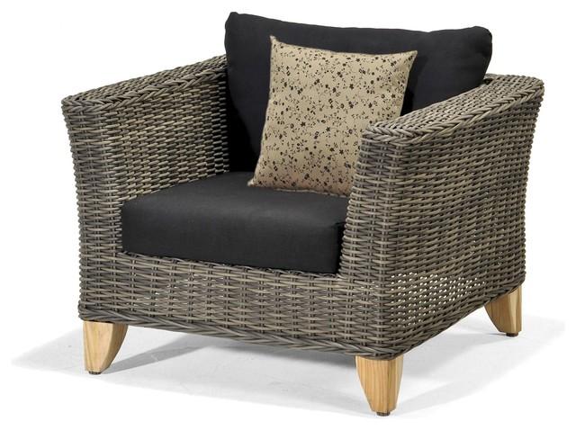 Sydney fauteuil d 39 ext rieur en r sine tress e et teck marron avec coussin - Fauteuil exterieur resine ...