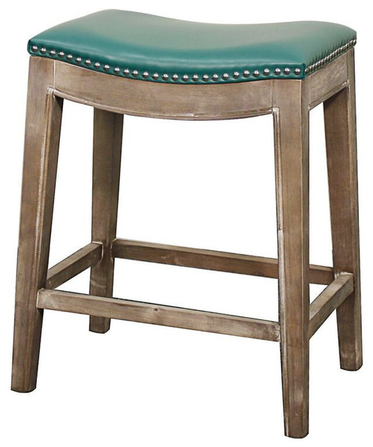 Elmo Bonded Leather Counter Stool Gray Finish And