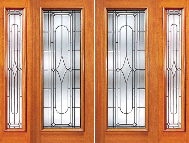 Art Deco Beveled Glass Exterior Double Door And Two Sidelite Contemporary