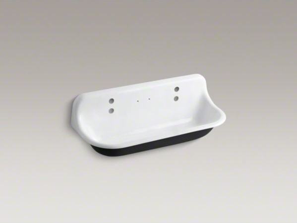 ... wall-mounted wash sink with 2 faucet holes contemporary-kitchen-sinks