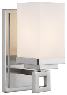 Transitional Bathroom Wall Sconces : PW Pewter Nelio 1 Light Bathroom Wall Sconce - Transitional - Wall Sconces - by Elite Fixtures