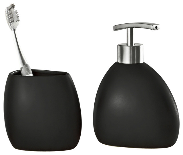 Black stoneware bathroom accessories 2 piece set modern for Black bath accessories sets