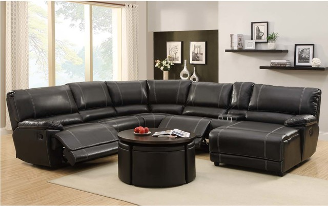 Homelegance black leather reclining sectional sofa chaise for Black leather sofa chaise lounge