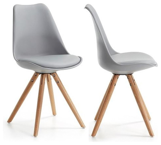 Lot de 2 chaises design ralf wood couleur gris for Chaises de table a manger