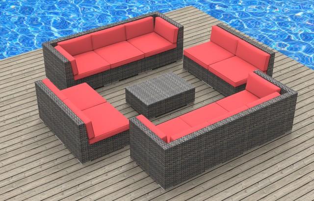 Bermuda 11pc Ultra Modern Wicker Patio Set Coral Red Modern Outdoor Lo