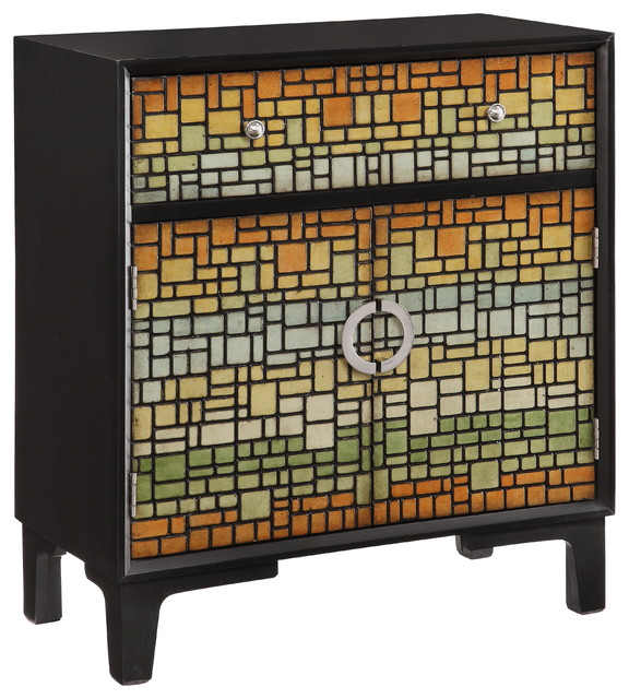 Mosaic multicolor cabinet contemporary accent chests for Baroque 2 door accent cabinet