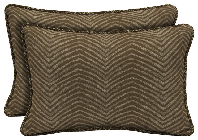 Zebra Lumbar Pillow, Set of 2 - Traditional - Outdoor Cushions And Pillows - by Bombay Outdoors