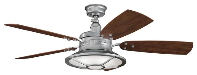Kichler harbour walk 4 light ceiling fan galvanized steel for Farmhouse ceiling fan