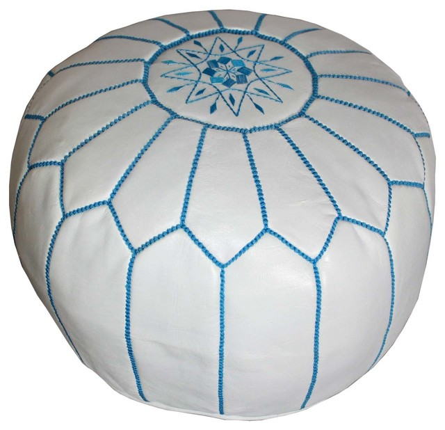 Round Leather Ottoman Design : Moroccan Round Leather Ottoman, White with Blue Stitching - Modern ...