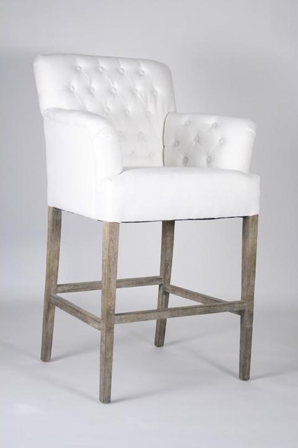 Zentique Barrois Tufted Bar Stool Traditional Bar