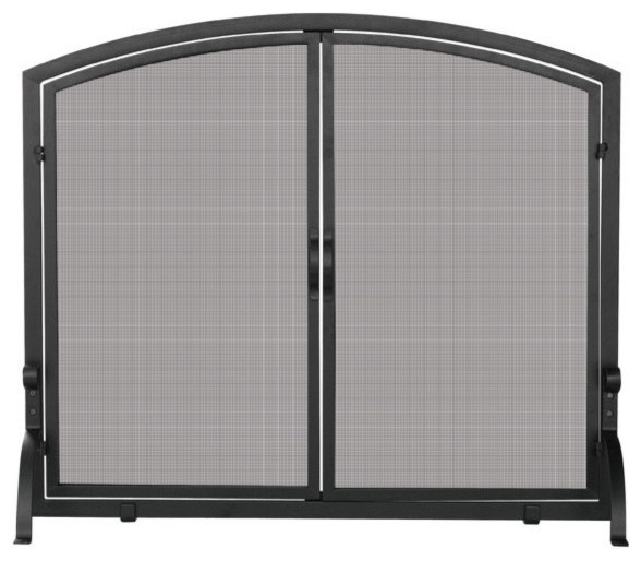 Uniflame s 1064 single panel black wrought iron screen w doors large traditional fireplace - Houzz fireplace screens ...
