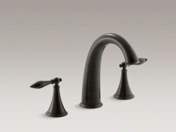Kohler finial r deck mount bath faucet trim for high flow valve with lever hand contemporary for Kohler hands free bathroom faucet