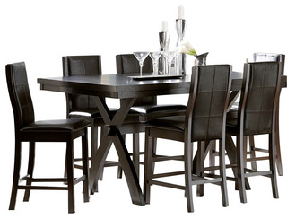 Homelegance rigby 7 piece counter height dining room set for Traditional dining table bases