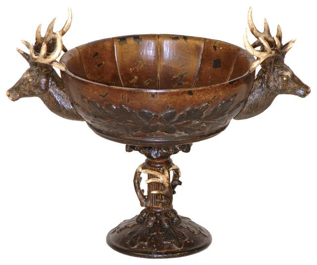 Brown stag deer pedestal centerpiece bowl traditional