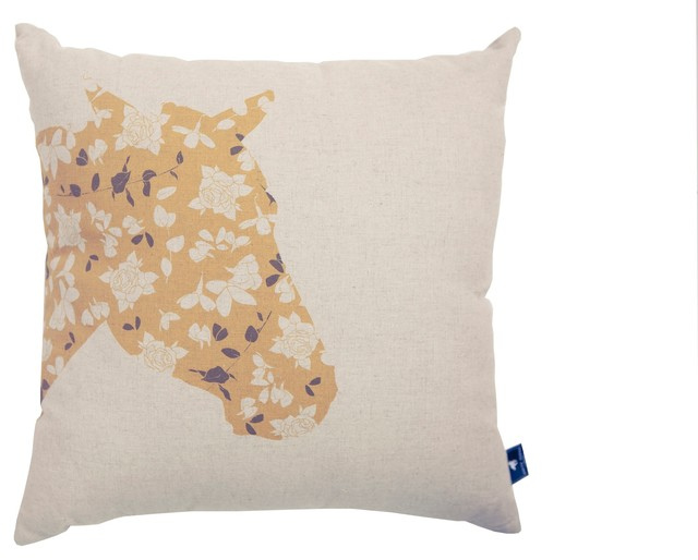 Decorative Horse Pillows : Floral Horse Cushion Cover - Contemporary - Decorative Pillows - by White Horse Home