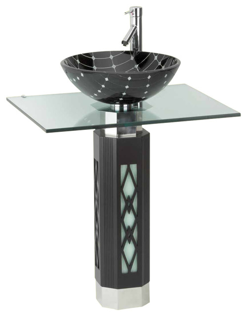 Octagonal Pedestal With Vessel and Faucet, Black/White - Contemporary - Bathroom Sinks - by The ...