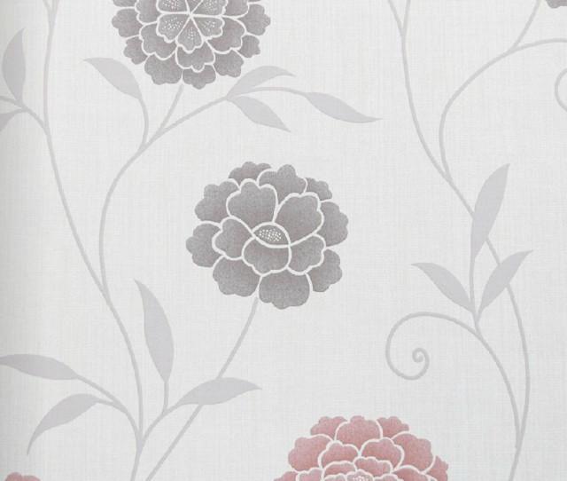 Modern Floral Print Wallpaper Contemporary Wallpaper