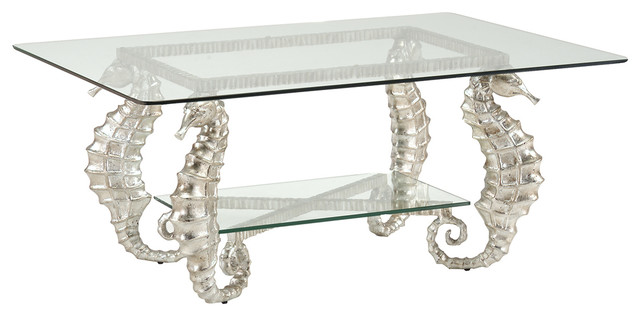 House Seahorse Silver Coffee Table 381590 Beach Style Coffee Tables