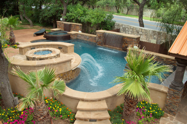Luxury backyards traditional pool austin by cody for Back garden swimming pool