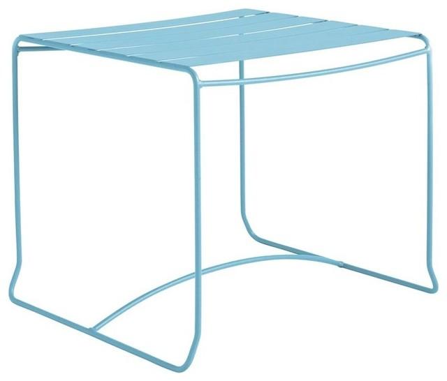 table basse de jardin m tal carr e 50x50 pasadena couleur turquoise moderne table basse de. Black Bedroom Furniture Sets. Home Design Ideas