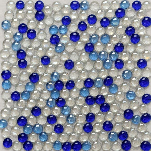glass tiles backsplash wall decor blue white mix pebble tile mosaic
