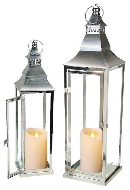 Elegant Silver Stainless Steel Lanterns with Motion Flame Lighted Wick Candles - Traditional ...