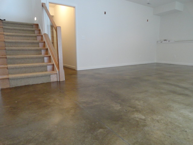 Stained concrete basement floor modern basement for How to care for stained concrete floors