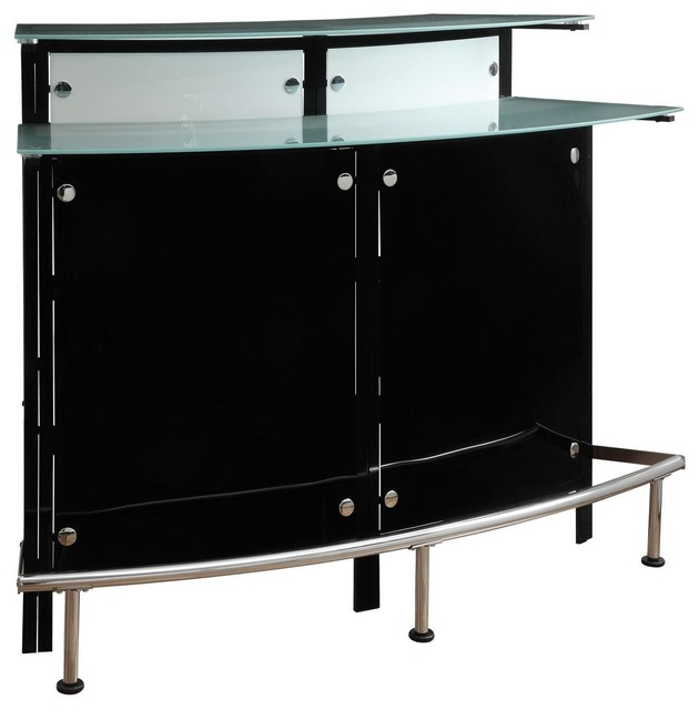 Modern Pub Home Arched Black Bar Table Unit Frosted Glass Shelves Counter Top Contemporary