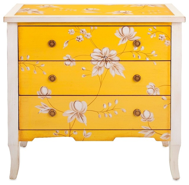 Yellow Floral 3 Drawer Cabinet Eclectic Accent Chests