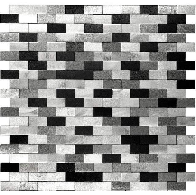 3D Metal Aluminum Black/White/Gray Mosaic Kitchen Backsplash Tile - Modern - Mosaic Tile - by ...