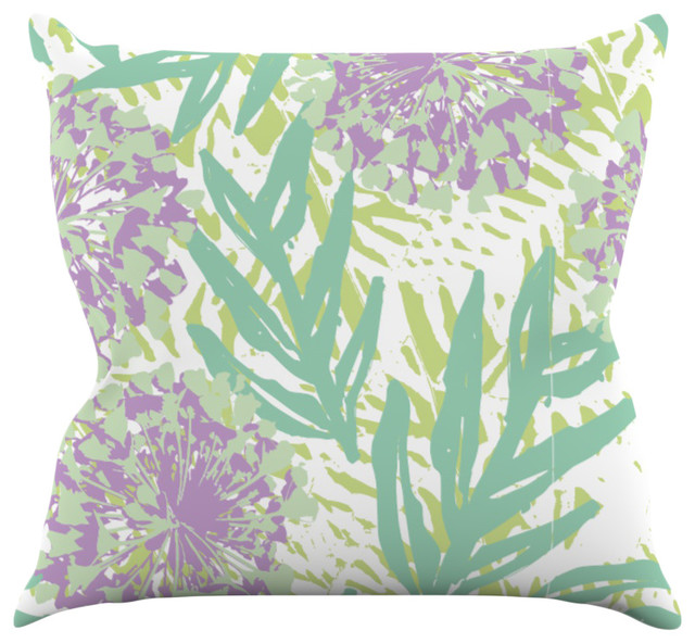 Purple Green Throw Pillow : Chickaprint