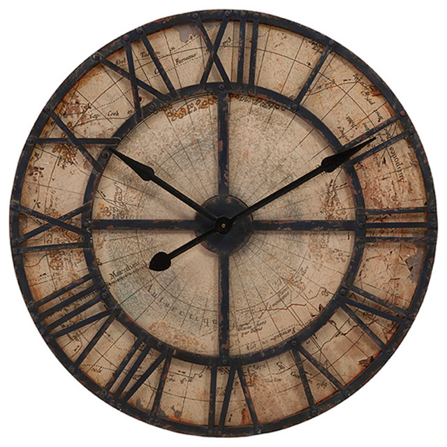 Wall clocks for home decor : Bryan map wall clock transitional clocks by