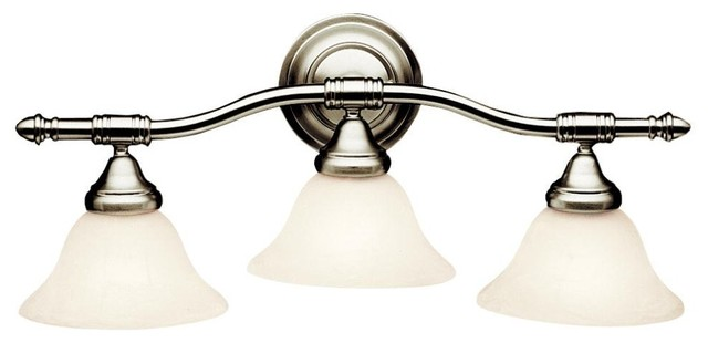 Energy Efficient Light Bulbs Bathroom Vanity : Kichler Energy Efficient 3-Light Bath Fixture, Brushed Nickel - Transitional - Bathroom Vanity ...
